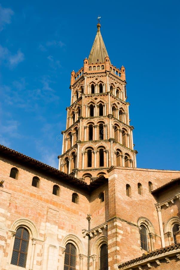 Glockenturm Basilika der Str.-Sernin in Toulouse lizenzfreie stockfotos
