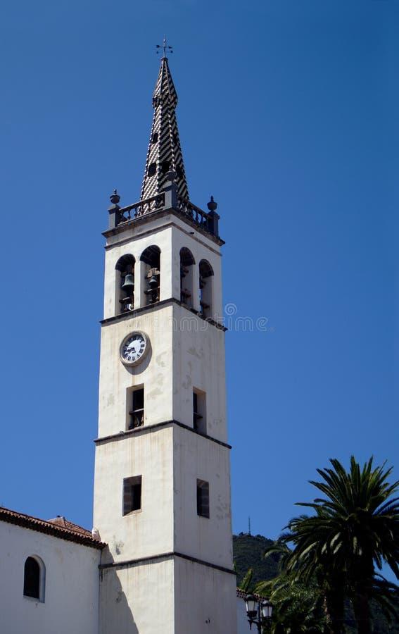 Glockenturm der Hauptgemeinde des Apostel Santiago, Los Realejos stockbild