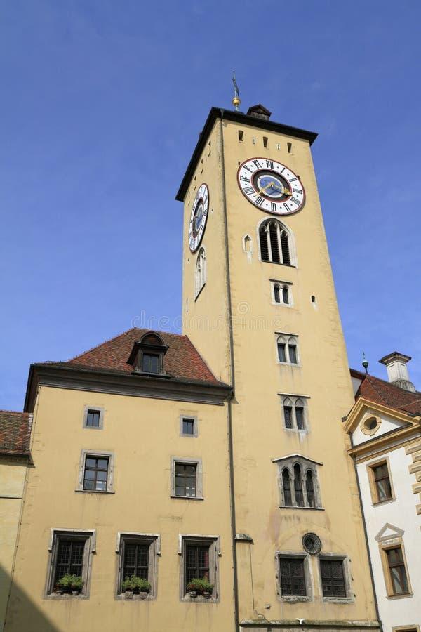 Glockenturm des alten Rathauses in Regensburg stockfoto