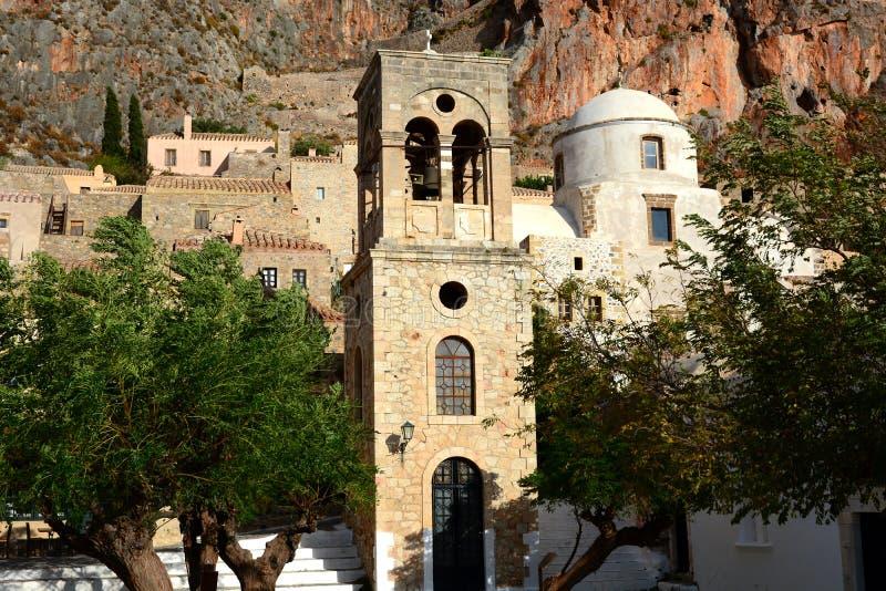 Glockenturm im Monemvasia, Griechenland lizenzfreies stockfoto