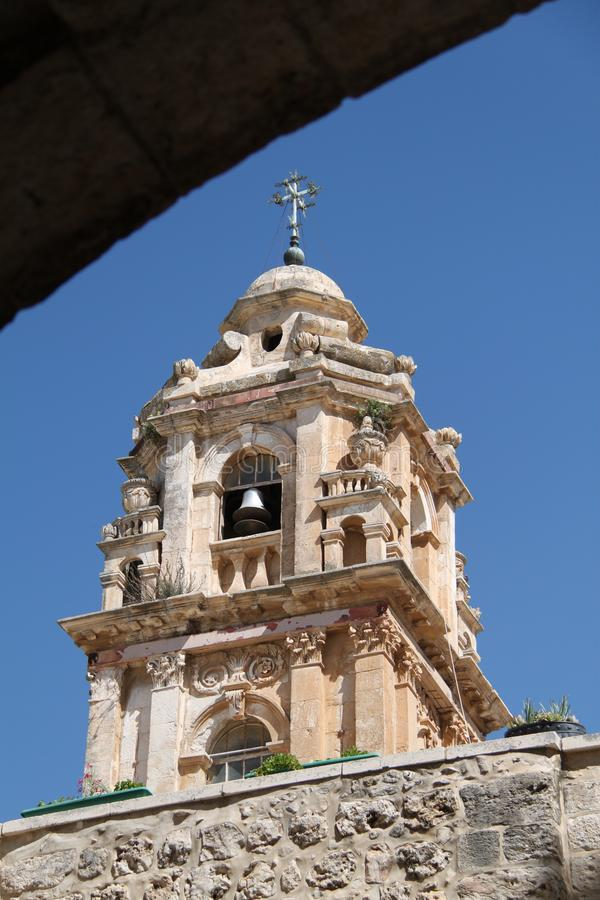 Glockenturm, Kloster des Kreuzes, Jerusalem, Israel stockfotografie