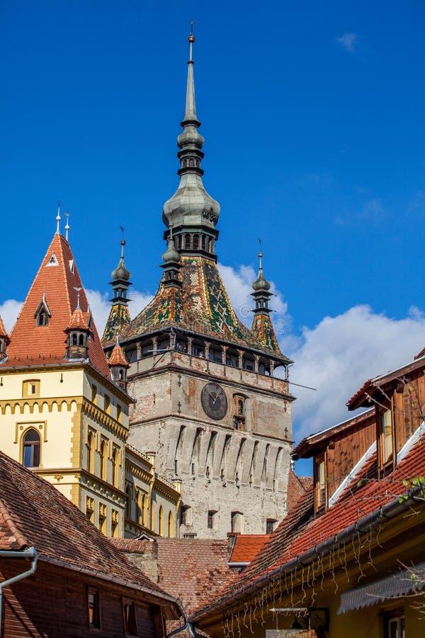 Glockenturm in Sighisoara - Rumänien lizenzfreies stockbild