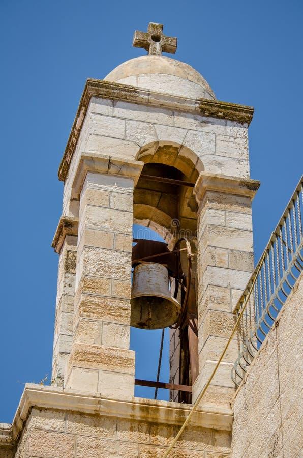 Glockenturm von Johannes die Baptistenkirche in der alten Stadt von Jerusalem, Israel lizenzfreies stockbild