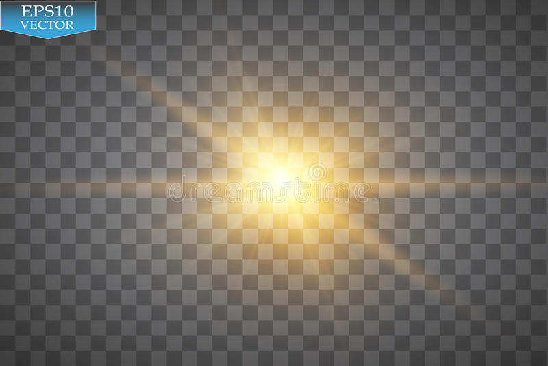 Gloed lichteffect Starburst met fonkelingen op transparante achtergrond Vector illustratie royalty-vrije illustratie