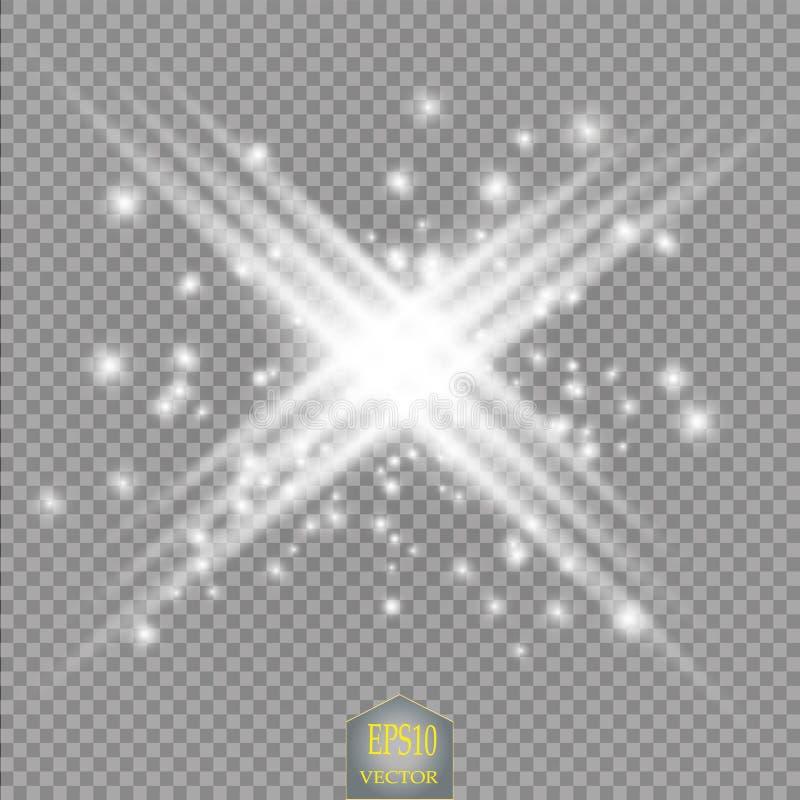 Gloed lichteffect Steruitbarsting met Fonkelingen Zon De neonlichten kosmische samenvatting van de machtsenergie royalty-vrije illustratie