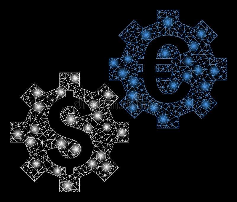Gloed Mesh Carcass Financial Mechanics met Gloedvlekken stock illustratie