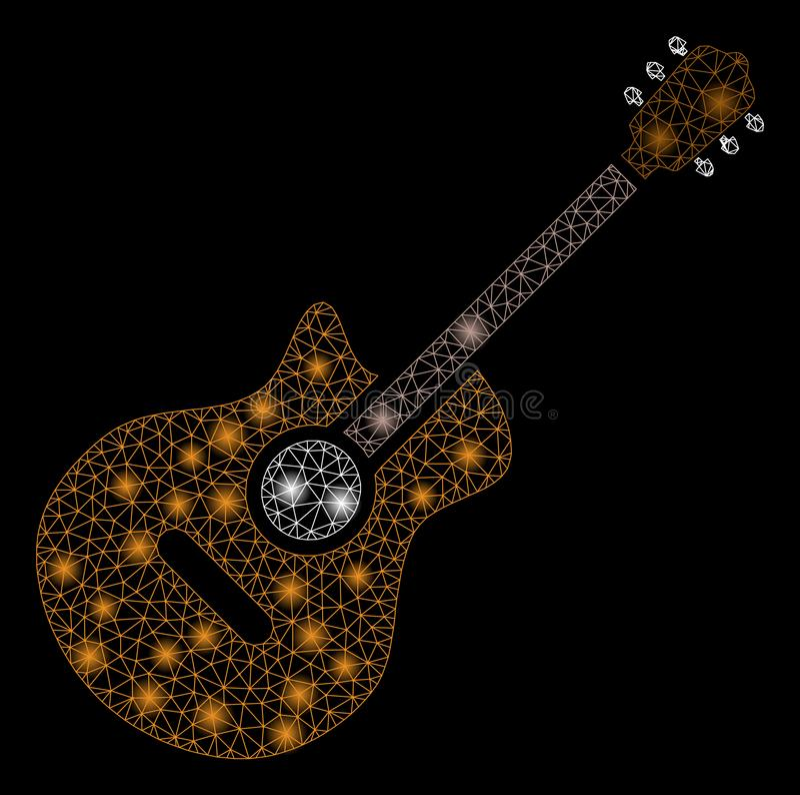 Gloed Mesh Carcass Guitar met Gloedvlekken vector illustratie