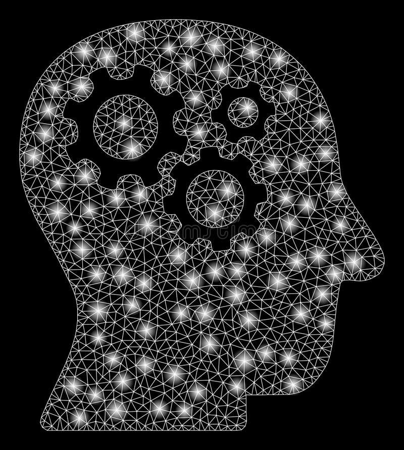 Gloed Mesh Network Intellect Gears met Gloedvlekken royalty-vrije illustratie