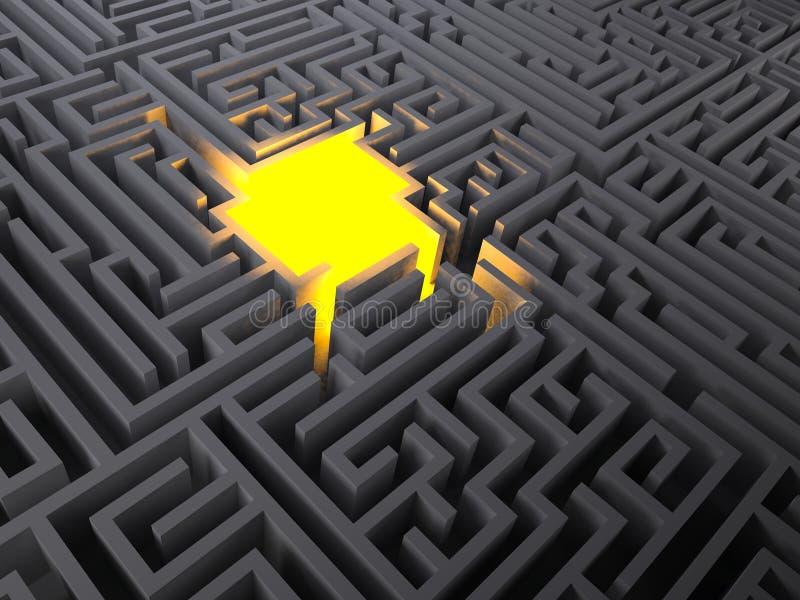 Gloed van licht in het midden van een geheimzinnig labyrint vector illustratie