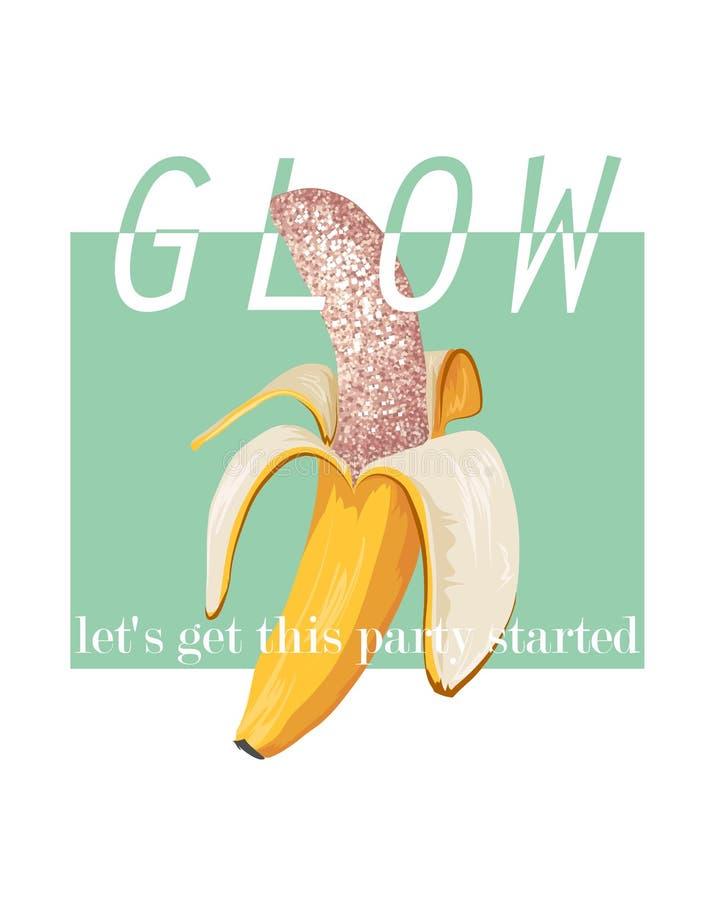 Gloedslogan met banaanillustratie Perfectioneer voor decor zoals affiches, muurkunst, totalisatorzak, t-shirtdruk, sticker, prent royalty-vrije illustratie