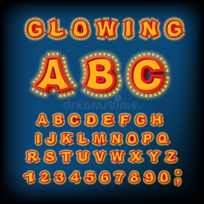 Gloeiend ABC Lichte Doopvont Retro Alfabet met lampen doopvontwijzer vector illustratie