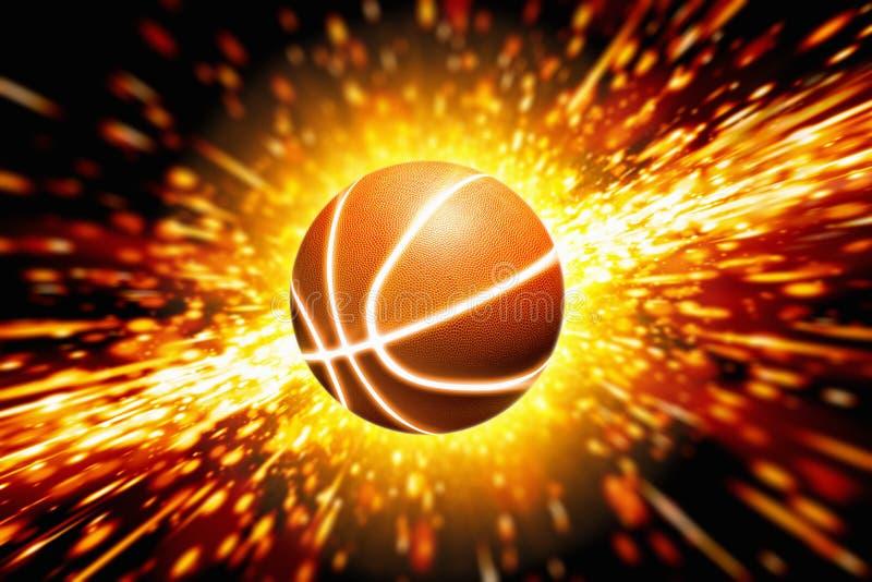 Gloeiend basketbal royalty-vrije illustratie