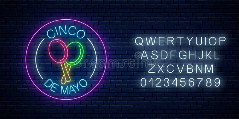 Gloeiend de vakantieteken van neonsinco DE Mayo in cirkelkaders met alfabet Het Mexicaanse ontwerp van de festivalvlieger stock illustratie