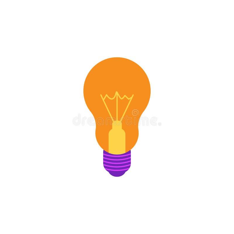 Gloeiend gloeilampen vlak pictogram met geel lichtgevend glas en violette die contactdoos op witte achtergrond wordt geïsoleerd royalty-vrije illustratie