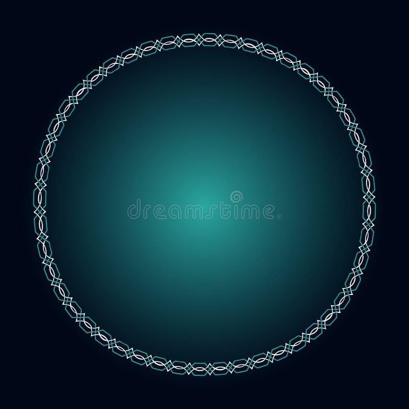 Gloeiend gotisch kader In Keltische stijl Blauwe en lichtblauwe gloeiende achtergrond voor uw oud ontwerp vector illustratie