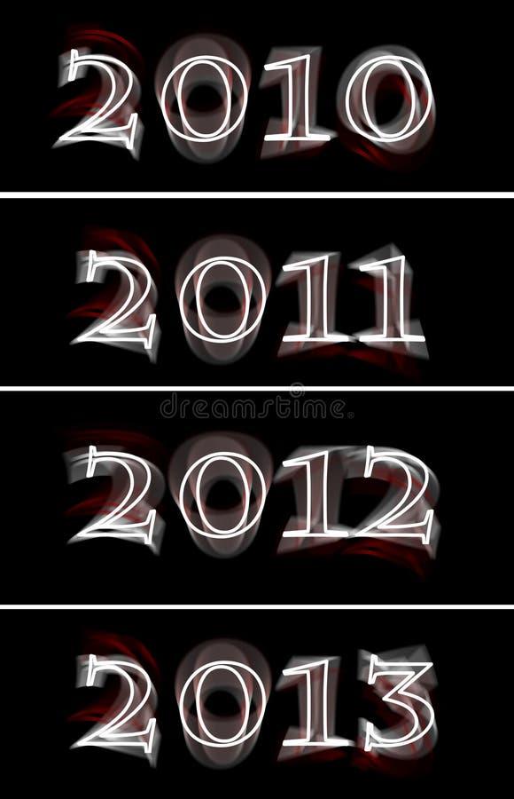 gloeiend het neonteken van 2010 tot van 2013 royalty-vrije illustratie
