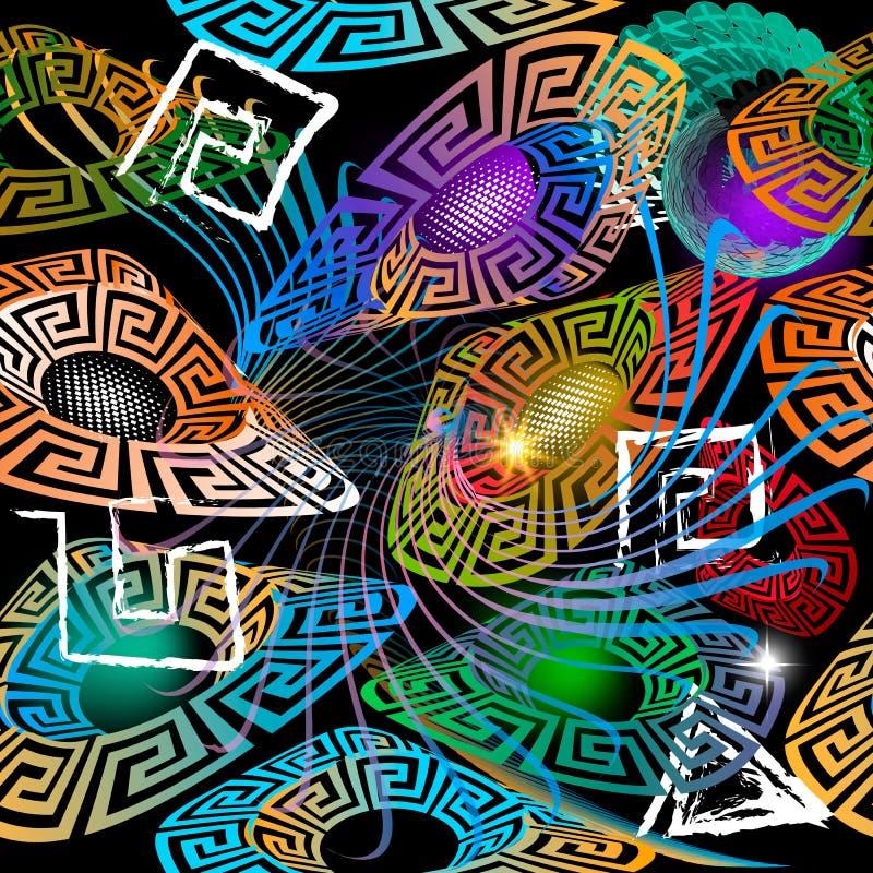 Gloeiend kleurrijk 3d Grieks vector naadloos patroon Moderne abstracte fantasie ruimteachtergrond Glanzende geometrische vormen,  royalty-vrije illustratie