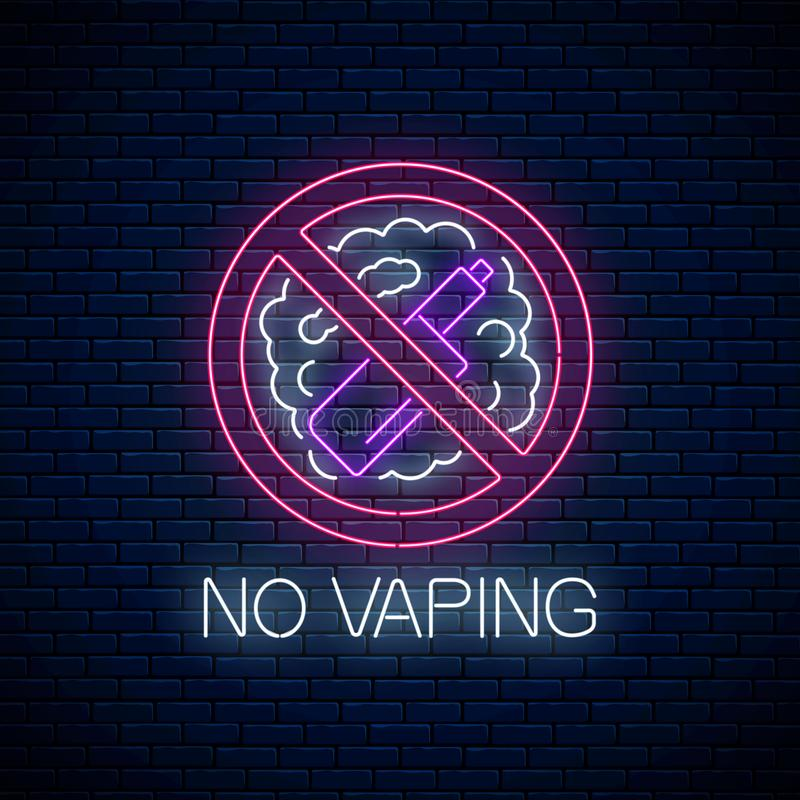 Gloeiend neon geen vaping teken op donkere bakstenen muurachtergrond Symbool van het Vape het vrije gebied Uithangbord van nr - r stock illustratie
