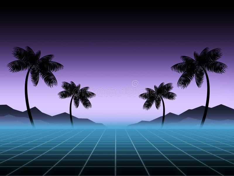 Gloeiend neon, synthwave en retrowave achtergrondmalplaatje Retro videospelletjes, futuristisch ontwerp, ijlen muziek, de jaren ' stock illustratie