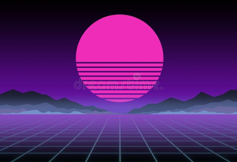 Gloeiend neon, synthwave en retrowave achtergrondmalplaatje Retro videospelletjes, futuristisch ontwerp, ijlen muziek, de jaren ' royalty-vrije illustratie