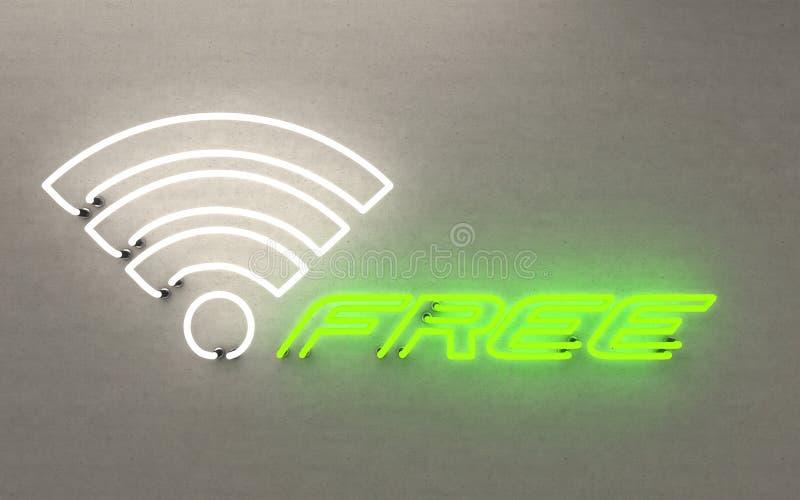 Gloeiend neonlicht vrij WLAN het 3d teruggeven royalty-vrije stock foto's