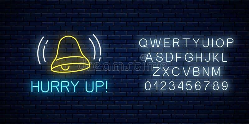 Gloeiend neonteken met bellende klok en haast op tekst met alfabet Vraag aan actiesymbool met het toejuichen van inschrijving stock illustratie