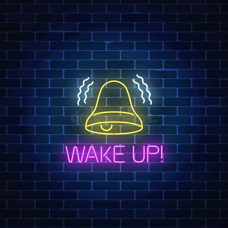 Gloeiend neonteken met bellende klok en kielzog op tekst Vraag aan actiesymbool met het toejuichen van inschrijving royalty-vrije illustratie