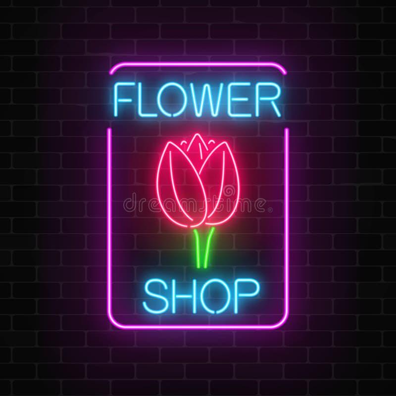 Gloeiend neonteken van bloemenwinkel in rechthoekkader Ontwerp van het uithangbord van de bloemopslag met tulp stock illustratie
