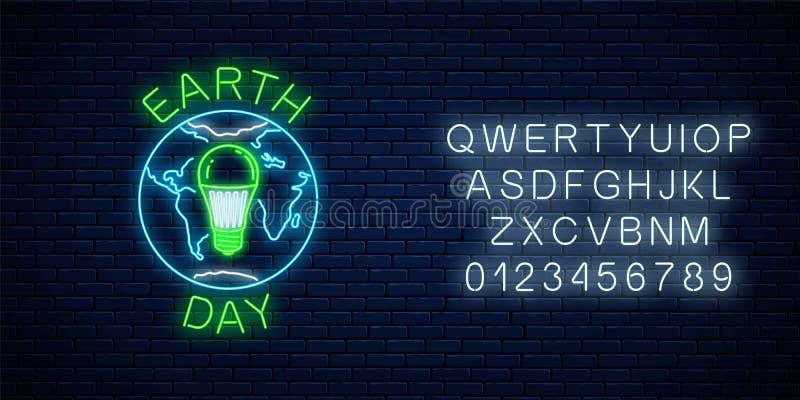 Gloeiend neonteken van de dag van de wereldaarde met bolsymbool en groene geleide gloeilamp met alfabet Het neonbanner van de aar stock illustratie