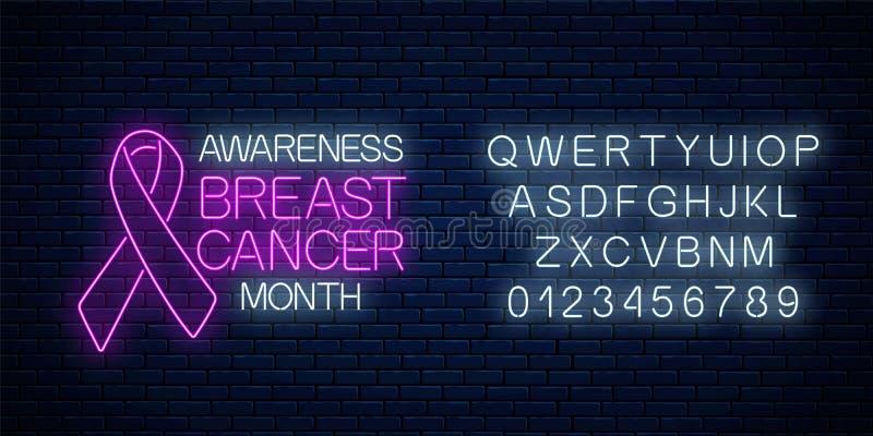Gloeiend neonteken van de maand van de borst canser voorlichting in oktober met alfabet Het ontwerp van de neonaffiche met roze l royalty-vrije illustratie