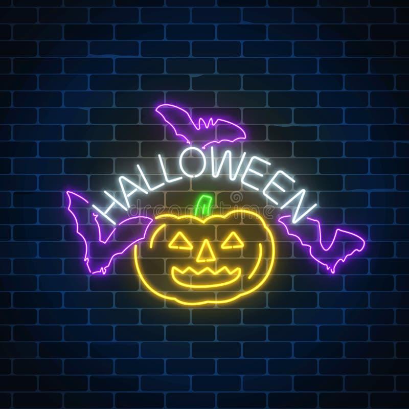 Gloeiend neonteken van Halloween-bannerontwerp met pompoen en knuppels Heldere Halloween-het neonstijl van het nacht enge teken royalty-vrije illustratie