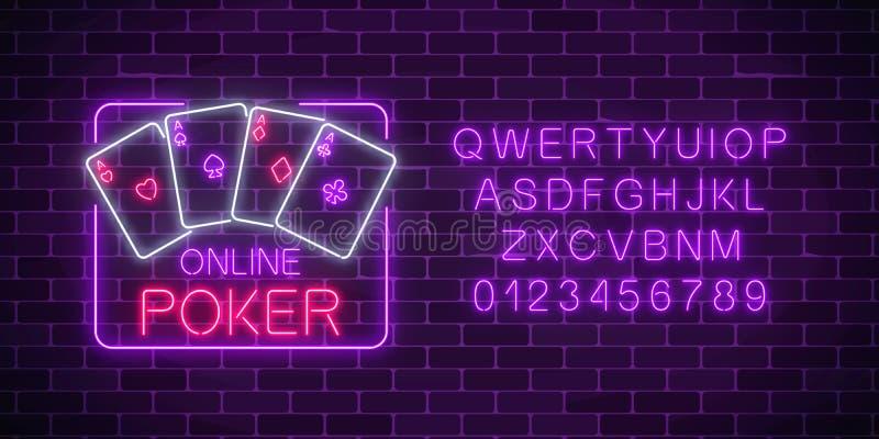 Gloeiend neonteken van online pooktoepassing in rechthoekkader met alfabet Casino helder uithangbord stock illustratie