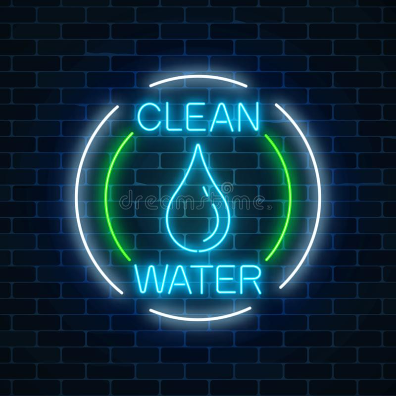Gloeiend neonteken van schoon water met waterdaling in cirkelkaders milieubescherming symbool royalty-vrije illustratie