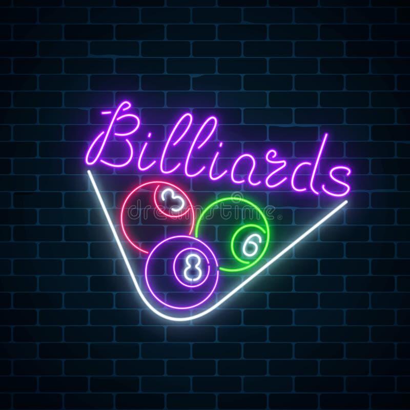 Gloeiend neonuithangbord van bar met biljart op bakstenen muurachtergrond Biljartballen in driehoekskader stock illustratie