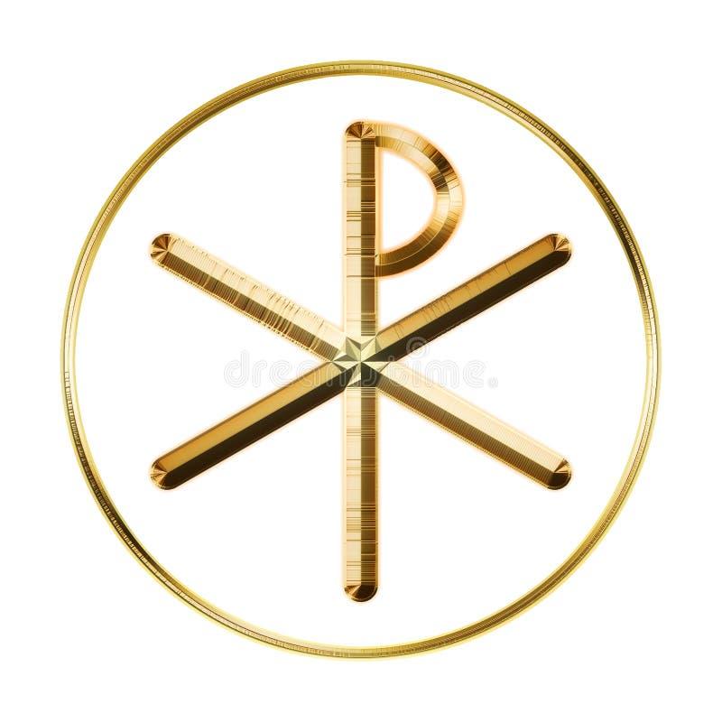 Gloeiend symbool chi-Rho stock illustratie