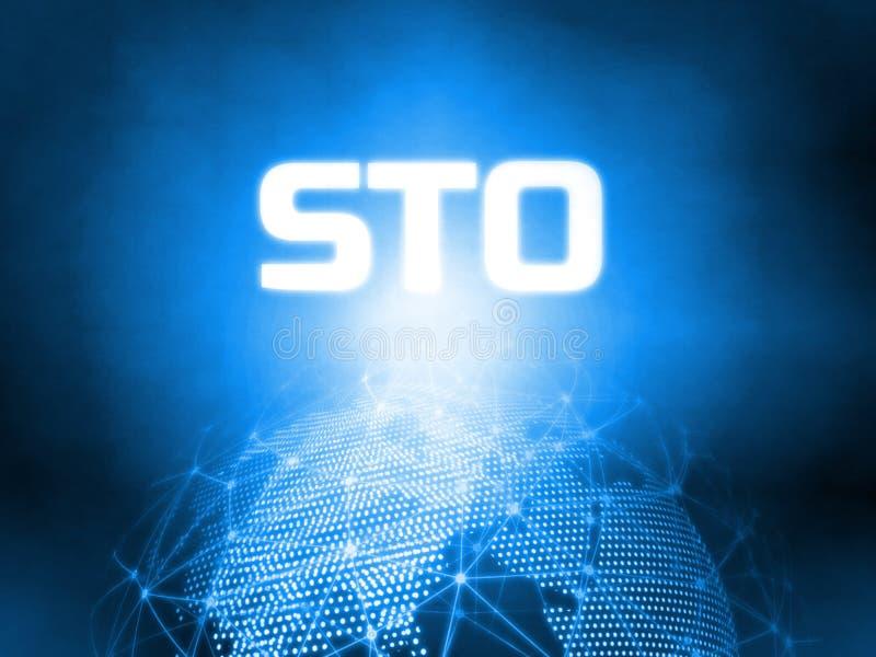 Gloeiende Beveiligingstoken die STO-tekst op 3D het Teruggeven blauwe gestippelde wereld en abstracte getelegrafeerde globale net royalty-vrije stock afbeelding