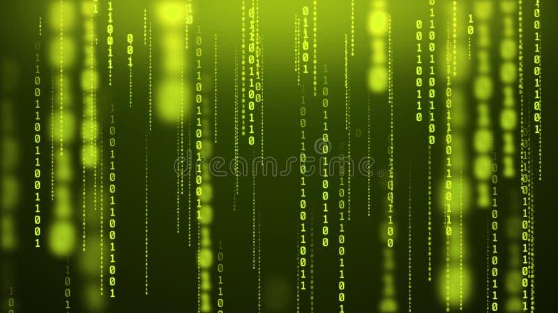 Gloeiende binaire regencomputer binnen achtergrond van het matrijs de numerieke onduidelijke beeld stock fotografie