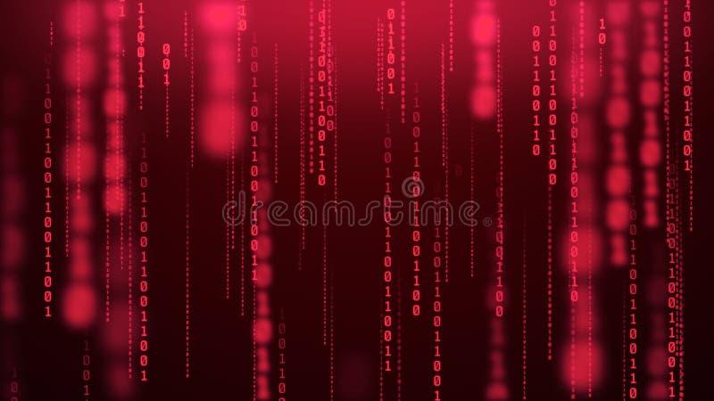 Gloeiende binaire regencomputer binnen achtergrond van het matrijs de numerieke onduidelijke beeld stock foto's