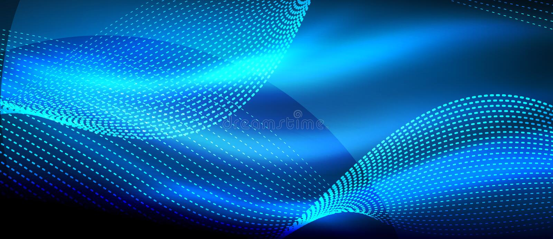 Gloeiende blauwe abstracte golf op donkere, glanzende motie, magisch ruimtelicht Techno abstracte achtergrond vector illustratie