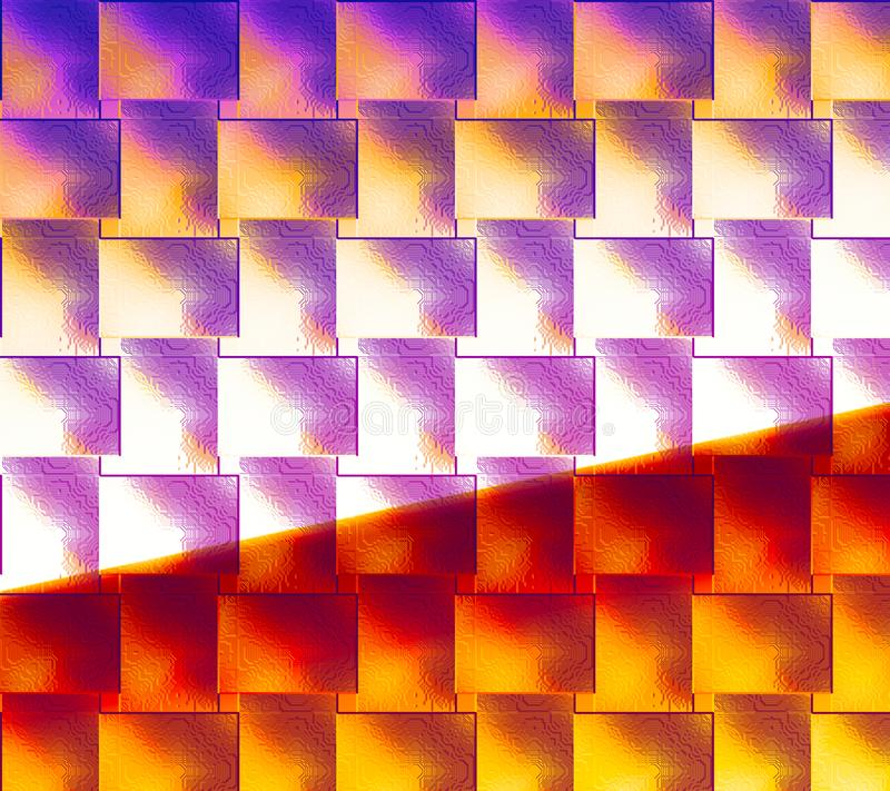 Gloeiende blokken met contrastkleuren Abstracte oppervlakte Close-upart. Geschilderde geweven achtergrond De kleur bevlekte digit stock illustratie
