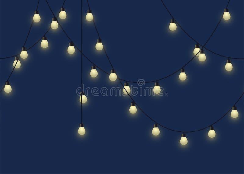 Gloeiende bolslinger, decoratieve lichte slinger op donkere lampen als achtergrond, footer en banner, vectorillustratie stock illustratie