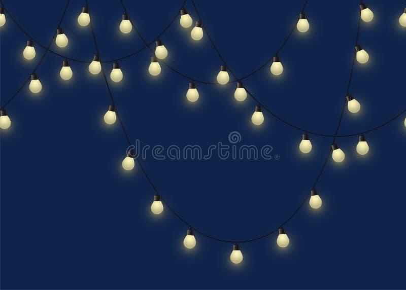 Gloeiende bolslinger, decoratieve lichte slinger op donkere lampen als achtergrond, footer en banner, vectorillustratie royalty-vrije illustratie
