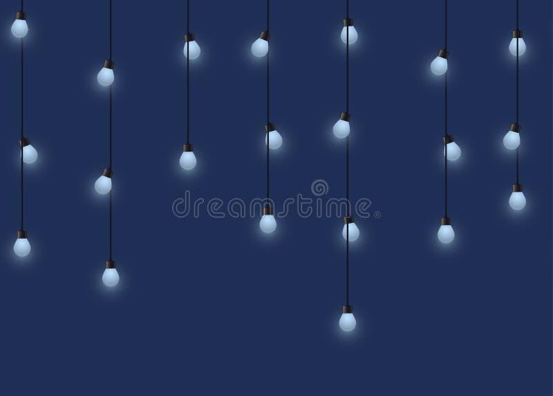 Gloeiende bolslinger, decoratieve lichte slinger op donkere lampen als achtergrond, footer en banner, vectorillustratie vector illustratie