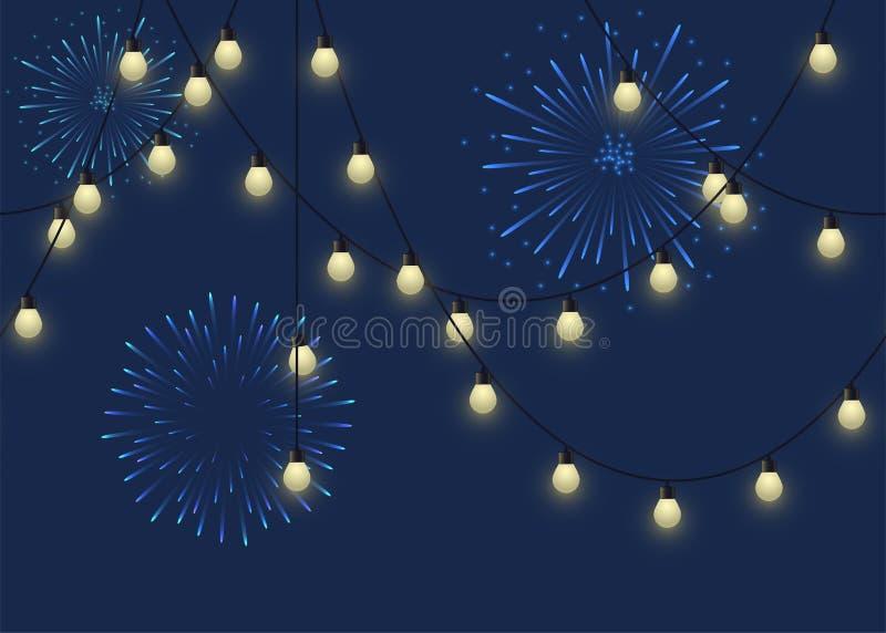 Gloeiende bolslinger met vuurwerk, decoratieve lichte slinger en begroeting op donkere lampen als achtergrond, footer en banner vector illustratie