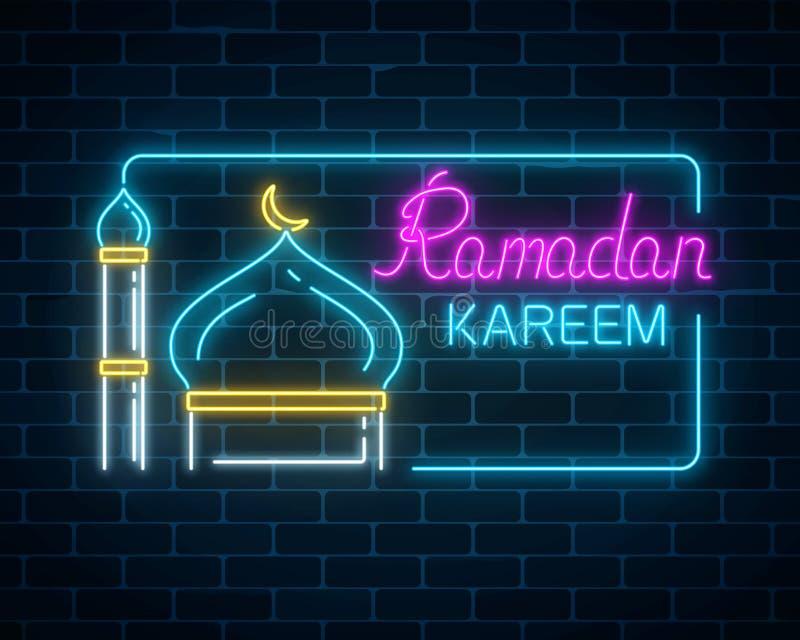 Gloeiende de groettekst van neon ramadan kareem met moskeekoepel en minaret in rechthoekkader royalty-vrije illustratie