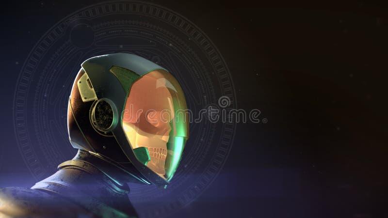 Gloeiende dode schedelastronaut in spacesuit en helm Op donkere achtergrond met 3d sterren en gloed geef terug Halloween stock illustratie