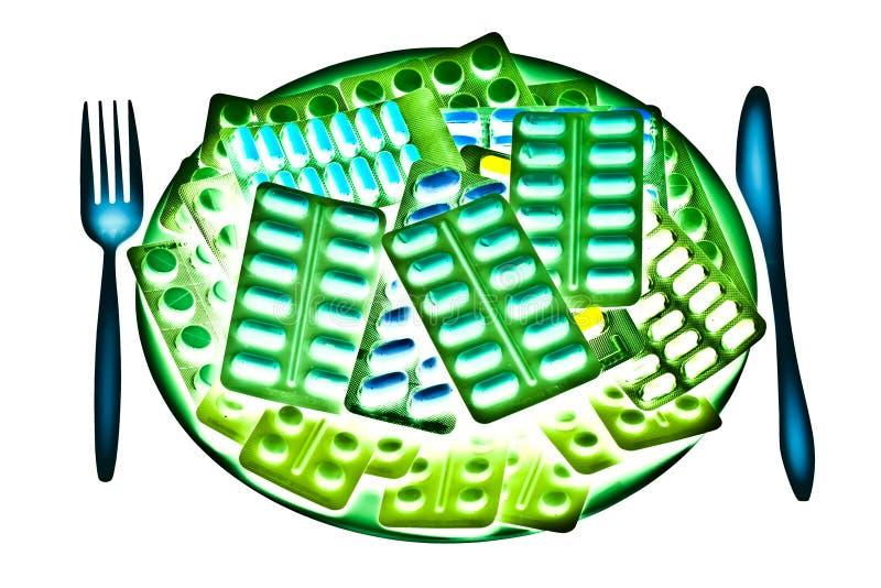 Gloeiende farmaceutische plaat royalty-vrije stock afbeelding