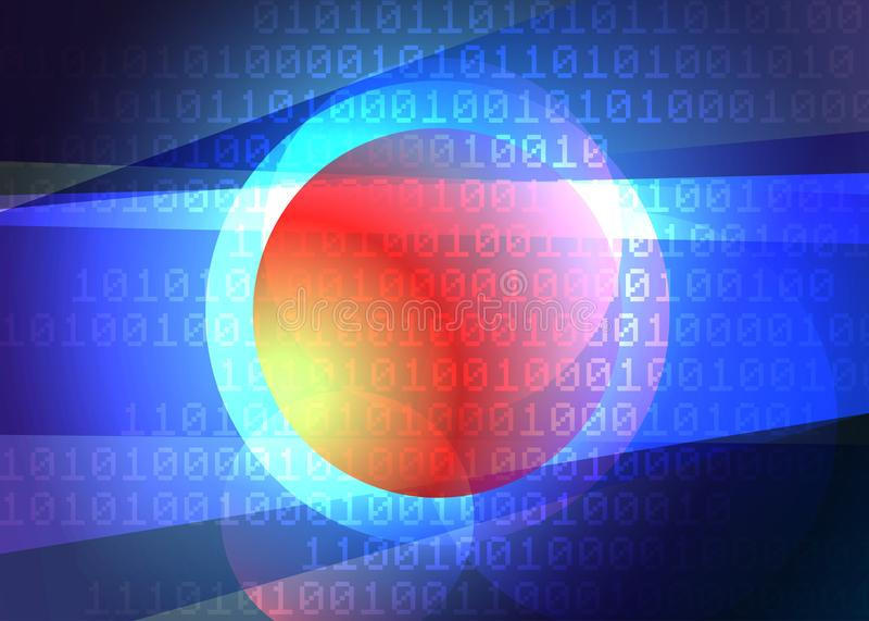 Gloeiende futuristische technologie-achtergrond met binaire code royalty-vrije illustratie