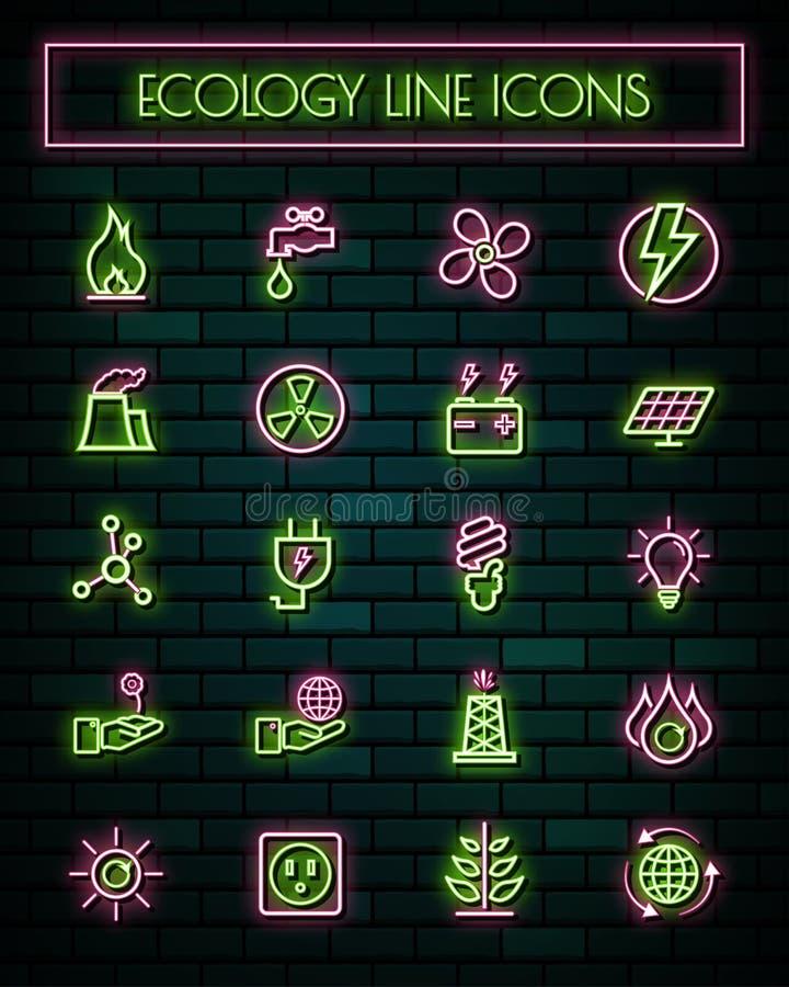 Gloeiende geplaatste de lijnpictogrammen van het energie dunne neon Vector illustratie royalty-vrije illustratie