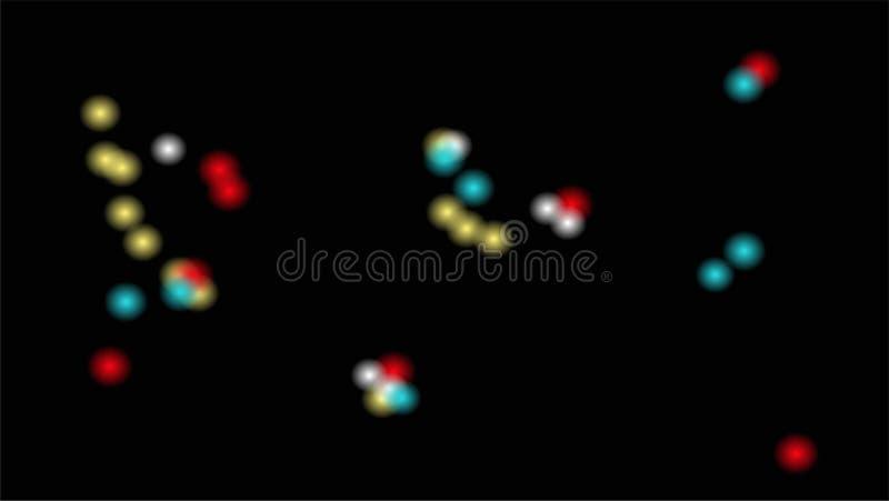 Gloeiende glimwormen in de nacht Raadselachtige en geheimzinnige illustratie met mooie blauwe rode en yelloy lichten in de nacht royalty-vrije illustratie